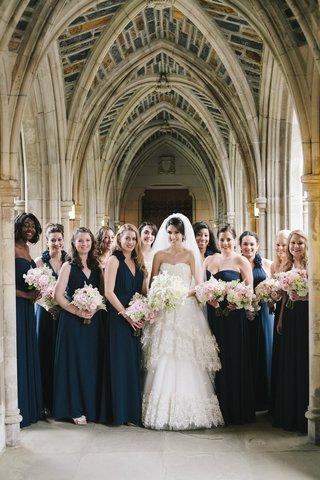 bride-and-blue-bridesmaids-at-duke-chapel