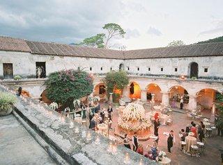 wedding-venue-antigua-guatemala-welcome-reception-outdoor-courtyard-under-stars-ruins
