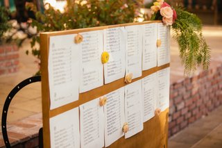 outdoor-wedding-reception-with-a-seating-assigment-sheets-on-wood-board-decorated-with-peach-flowers
