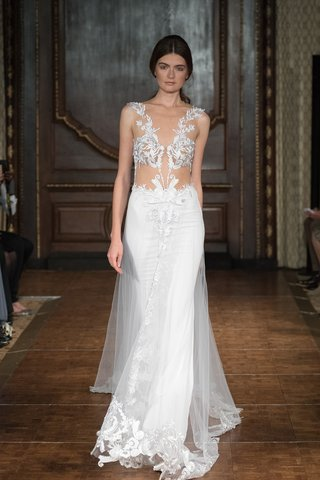 idan-cohen-fall-2017-sheer-bodice-with-leaf-patterns-and-a-sheath-skirt-with-an-a-line-tulle-overlay