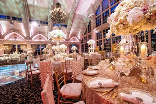new-jersey-ballroom-wedding-megan-wollover-tracy-morgan-gold-sequin-linens-white-pink-centerpiece