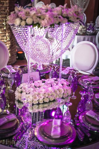 reflective-tablescape-purple-lighting-uplighting-opulent-wedding-reception-crystals-lavish-morocco