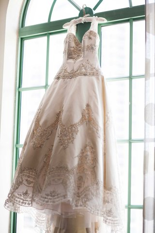ball-gown-intricate-beaded-detail-champagne-wedding-dress-eve-of-milady-florida-hanging-train-sleeve