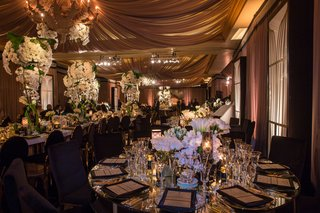 black-gold-chairs-white-table-white-flowers-phalaenopsis-orchid-tulip-candles-mirror-table-drapery
