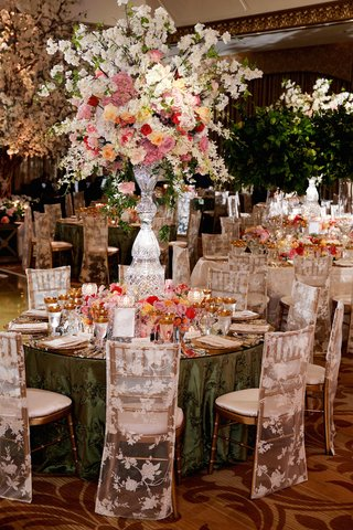 green-tablecloths-with-colorful-floral-arrangements