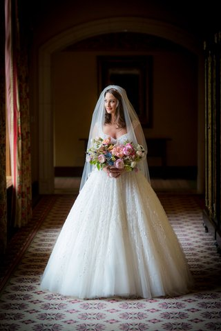 bride-in-zuhair-murad-wedding-dress-ball-gown-and-veil-with-colorful-pink-blue-bouquet