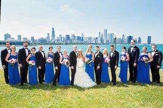 bride-in-vera-wang-groom-in-vera-wang-bridesmaids-in-cobalt-blue-bill-levkoff-lake-michigan