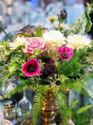 small-arrangement-of-flowers-including-pink-anemones-roses-white-dahlias-ferns