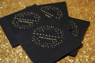 black-paper-napkins-with-gold-writing-a-countdown-and-the-couples-new-last-name-nye-wedding