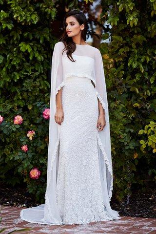tadashi-shoji-fall-2018-cotton-lace-gown-with-cascading-chiffon-cape-and-lace-trim-detail