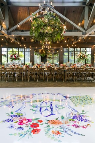 wedding-reception-rustic-elegant-white-dance-floor-with-colorful-monogram-pink-red-orange-purple