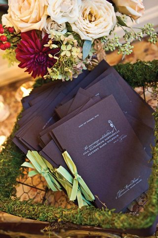 wedding-ceremony-programs-in-moss-chicken-wire-basket