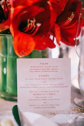 wedding-reception-red-white-menu-card-salad-course-caesar-salad-entree-wedding-cakes