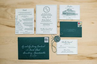 deep-green-wedding-invitation-suite-envelopes-rsvp-card-reception-card-couples-monogram-maine