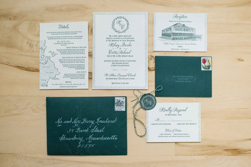 Deep Green Wedding Invitation Suite