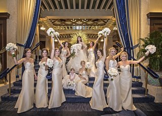 bridesmaids-in-champagne-dresses-by-hayley-paige-occasions
