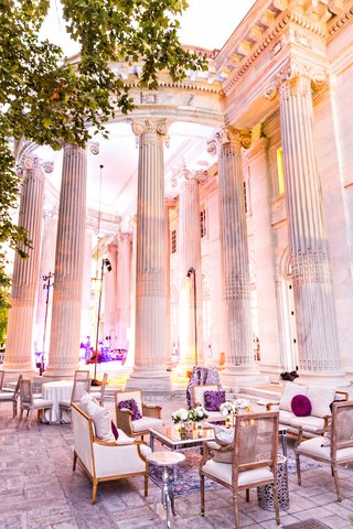 wedding-lounge-area-outdoors-columns-washington-dc-wedding-venue-french-country-lounge-furniture