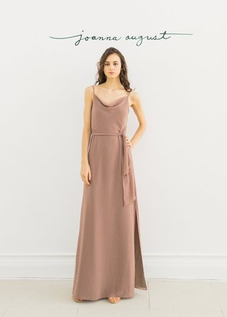 joanna-august-2016-taupe-bridesmaid-dress-with-cowl-neck-and-sash-around-waist-floor-length