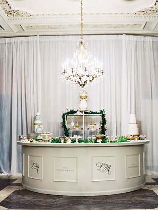 wedding-reception-indoor-dessert-station-with-cakes-and-french-pastries-paris-inspired-wedding