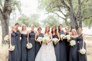 charcoal-grey-bridesmaid-dresses-with-bride