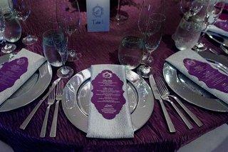 wedding-reception-purple-linens-silver-chargers-silver-napkins-purple-menus