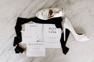 classic-black-and-white-invitation-suite-badgley-mischka-bridal-shoes-with-jeweled-heel