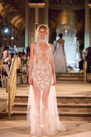 idan-cohen-fall-winter-2018-empire-of-love-wedding-dress-high-neck-sheer-short-minidress-overskirt