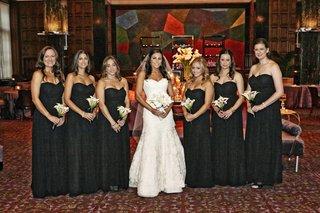 chicago-wedding-bride-with-black-bridesmaid-dresses