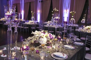 grey-crinkle-linen-reception-table-with-purple-lighting