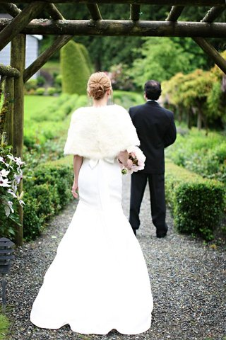 back-view-of-fit-and-flare-gown-and-white-fur-wrap