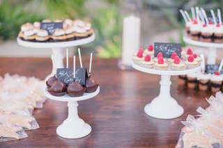 wedding-chocolate-cake-pops-and-tarts-on-wooden-table