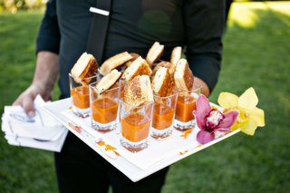 wedding-reception-cocktail-hour-mini-grilled-cheese-tomato-soup-in-glass-shooter-shot-glasses-orchid