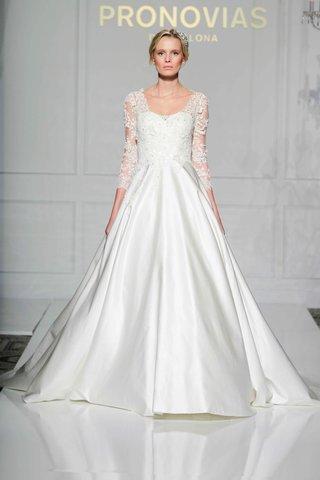 pronovias-2016-princess-wedding-dress-with-pockets-three-quarter-lace-sleeves
