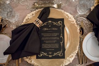 wedding-reception-ornate-gold-charger-plate-with-menu-card-gold-foil-gold-border-with-napkin