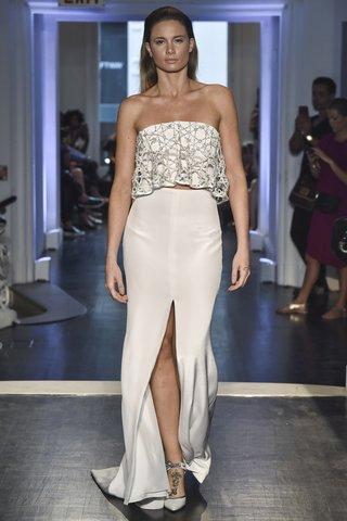 lakum-fall-2018-ribbon-blossom-strapless-circle-top-silk-crepe-sheath-skirt-with-train-front-slit