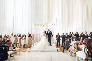 white-gold-ceremony-decorations-country-club-wedding-acrylic-lucite-arch-arbor