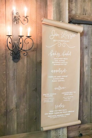wedding-reception-menu-on-kraft-paper-modern-calligraphy-bakery-basket-appetizer-entrees-chicken