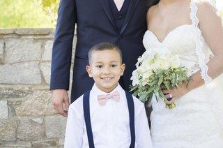 brides-son-smiles-couple-pink-bowtie-happy-catholic-ceremony-california-wedding-suspenders-navy