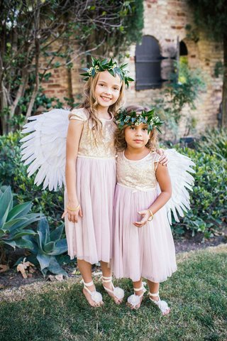 two-flower-girls-in-dresses-with-short-sleeves-sparkly-golden-bodices-blush-tulle-skirts