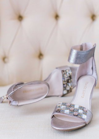 silver-peep-toe-wedding-sandal-shoes-with-thick-ankle-strap-and-checkerboard-details-on-toe-strap