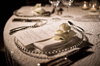 white-sequin-table-linen-wedding-reception-rose-bloom-on-menu