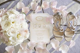 white-gold-foil-wedding-invitation-suite-with-wedding-rings-silver-jimmy-choo-heels-white-pink-flora