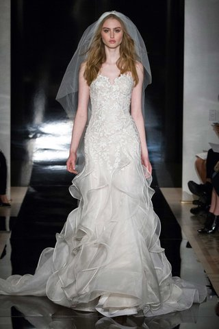 reem-acra-spring-2017-strapless-wedding-dress-with-ruffle-organza-layer-skirt-withembroidered-bodice