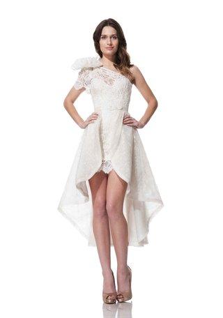 olia-zavozina-fall-winter-2016-short-wedding-dress-with-one-lace-shoulder-strap