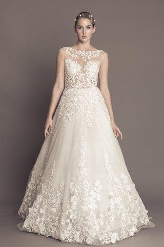 francesca-miranda-fall-2016-flower-applique-ball-gown-with-illusion-neckline-bodice