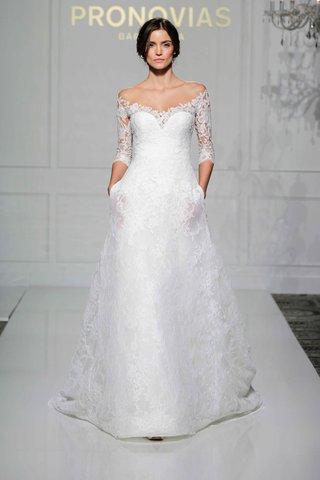 pronovias-2016-a-line-wedding-dress-with-three-quarter-lace-sleeves