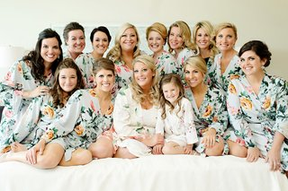 bridesmaids-and-flower-girl-with-bride-on-wedding-day-getting-ready-morning-flower-print-robes