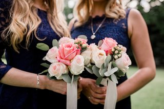 pink-white-green-bridesmaid-nosegays-portland-oregon-outdoor-wedding-rustic-chic-bouquets-ribbons