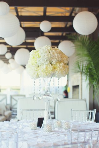 wedding-reception-table-with-tall-centerpiece-of-white-hydrangeas-and-crystal-strands