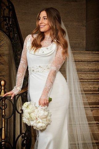 bride-with-hair-down-loose-curls-veil-vera-wang-cowl-neck-wedding-dress-over-lace-body-suit-unique